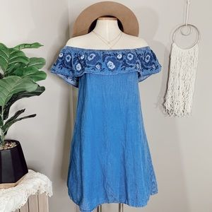 • ARIZONA • chambray floral off the shoulder dress